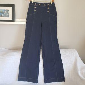 ModCloth Wide Leg Sailor Pants Dark Denim M